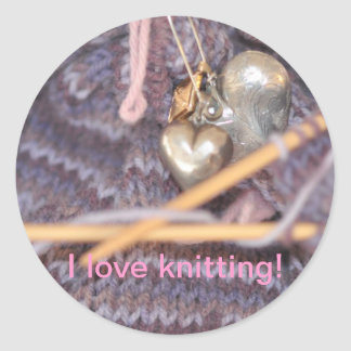 Knitting photo round stickers