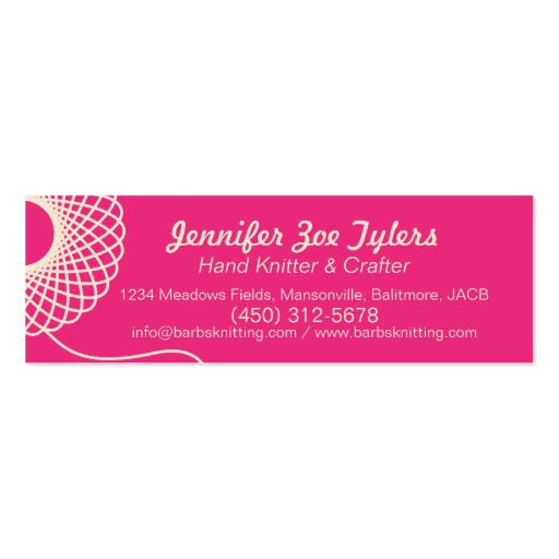 Knitting pink cream skinny business cards