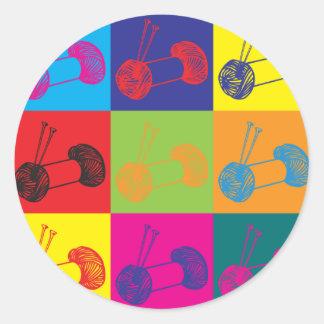 Knitting Pop Art Classic Round Sticker