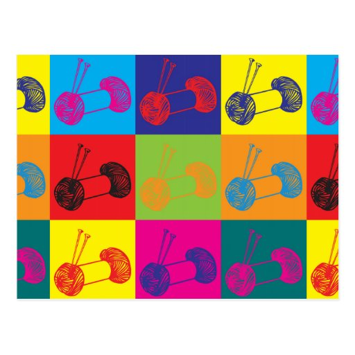 Knitting Pop Art Post Cards
