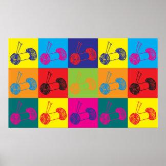 Knitting Pop Art Poster