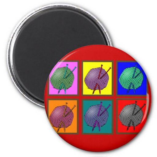 Knitting Popart Gifts 2 Inch Round Magnet