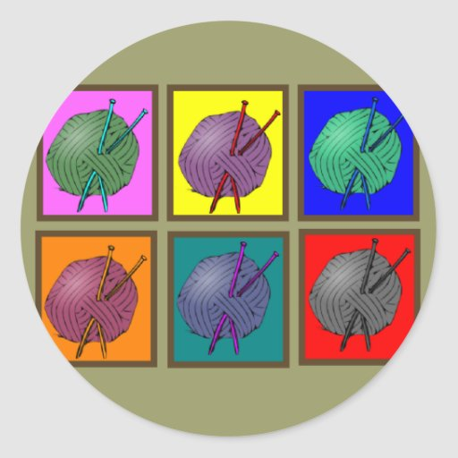 Knitting Popart Gifts Classic Round Sticker