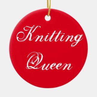 Knitting Queen Ceramic Ornament