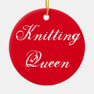 Knitting Queen Double-Sided Ceramic Round Christmas Ornament