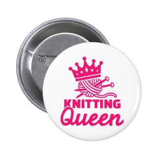 Knitting queen pinback button