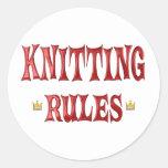 Knitting Rules Classic Round Sticker