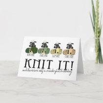 Knitting sheep birthday greeting card