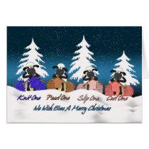 knitting sheep christmas greeting card - we wish e