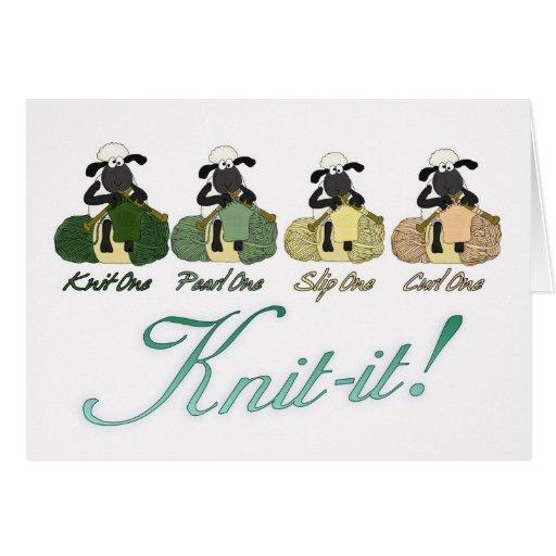 knitting sheep Greeting Card - Knit-It!