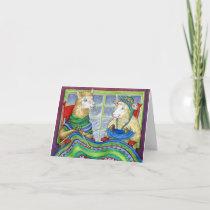 Knitting Sheep & Llama Holiday Card
