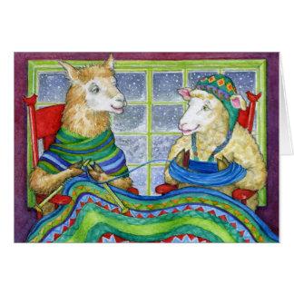 Knitting Sheep & Llama Stationery Note Card