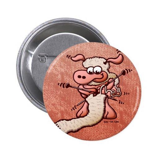 Knitting Sheep Pinback Button