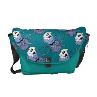 Knitting, Sheep, Yarn, Medium Messenger Bag