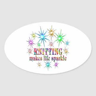 Knitting Sparkles Oval Sticker