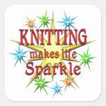 Knitting Sparkles Square Sticker