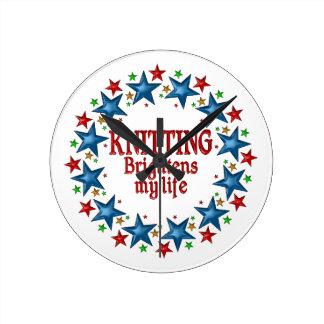 Knitting Stars Round Clock