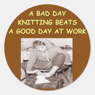 knitting round stickers