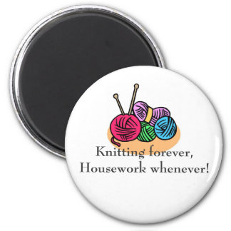 Knitting T-shirts and Gifts. 2 Inch Round Magnet