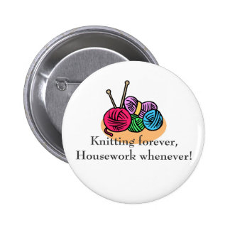 Knitting T-shirts and Gifts. Pinback Button