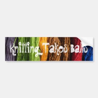 Knitting Takes Balls Bumper Stickers