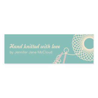 Knitting teal cream skinny business / sale cards