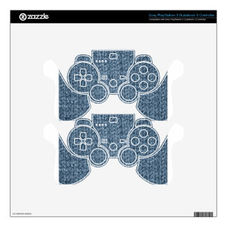Knitting Texture of Blue-Gray Colored Yarn PS3 Controller Decal