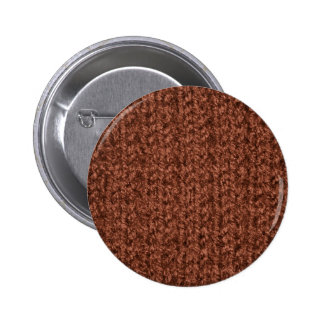 Knitting Texture of Chocolate Brown Colored Yarn Pinback Button