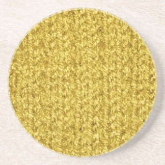Knitting Texture of Gold/Yellow Colored Yarn Sandstone Coaster