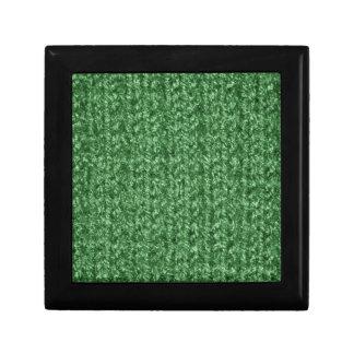 Knitting Texture of Green-Colored Yarn Trinket Box