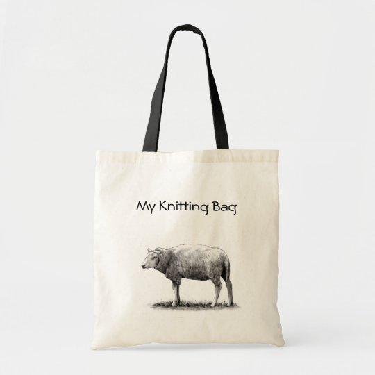 Knitting Tote: Drawing of Sheep in Pencil: Yarn Tote Bag