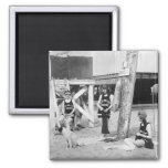 Knitting Venice Lifeguards, early 1900s 2 Inch Square Magnet