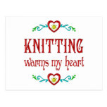 Knitting Warms My Heart Post Cards