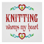 Knitting Warms My Heart Posters
