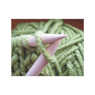 Knitting with Green Yarn Canvas Print
