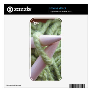 Knitting with Green Yarn Decals For The iPhone 4