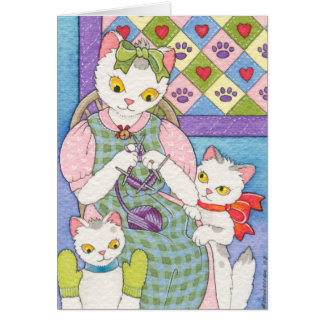 Knitting With Kittens Mothers Day Card Moussart