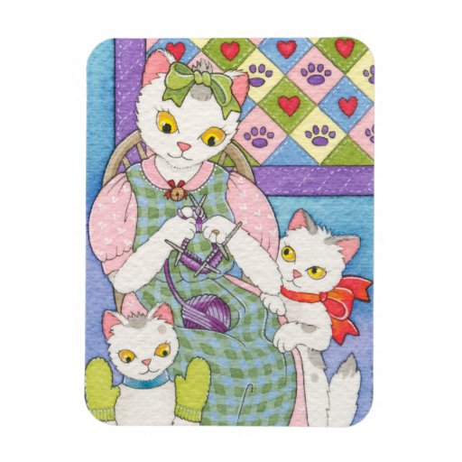 Knitting With Kittens Mothers Day Card Moussart Rectangular Photo Magnet