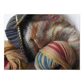 Knitting with Wool Yarn 5.5x7.5 Paper Invitation Card