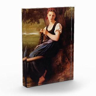 Knitting Woman by William-Adolphe Bouguereau Acrylic Award