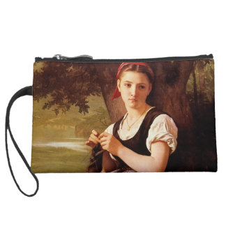Knitting Woman by William-Adolphe Bouguereau Wristlet Clutches