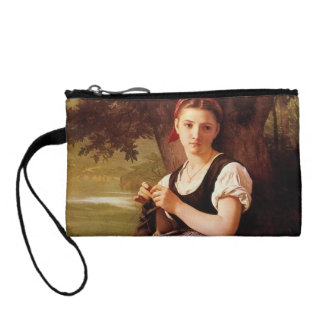 Knitting Woman by William-Adolphe Bouguereau Coin Purses