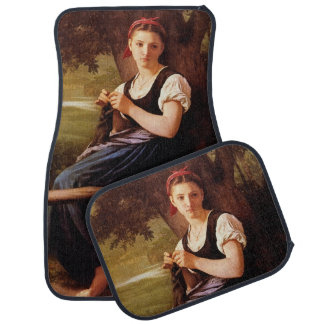 Knitting Woman by William-Adolphe Bouguereau Car Mat