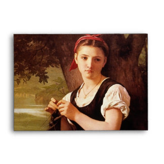 Knitting Woman by William-Adolphe Bouguereau Envelope