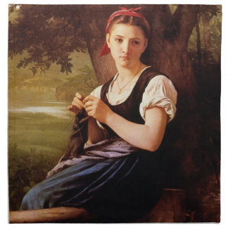 Knitting Woman by William-Adolphe Bouguereau Napkin