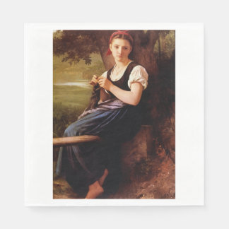 Knitting Woman by William-Adolphe Bouguereau Paper Napkin