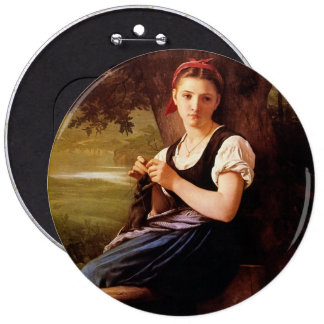 Knitting Woman by William-Adolphe Bouguereau Pinback Button