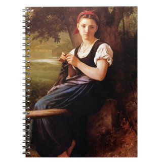 Knitting Woman by William-Adolphe Bouguereau Spiral Notebook