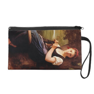 Knitting Woman by William-Adolphe Bouguereau Wristlet Purse