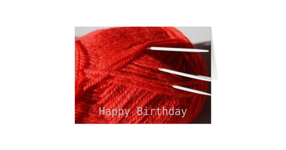 Knitting Happy Birthday Card : Knitting wool happy birthday card zazzle